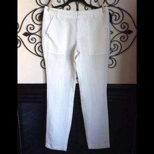 Nwot Leo & Sage White Ivory Linen Vacation Pants 2